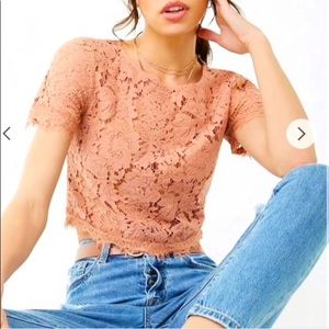 COPY - Forever 21 pink lace top in size large.